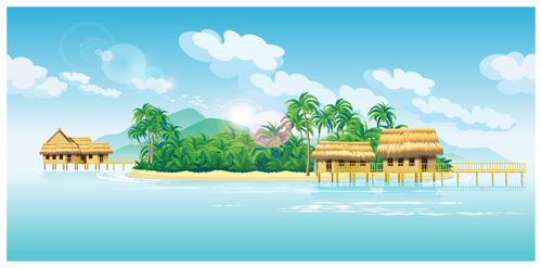 500x247 Tropical Island Scenery Vector Free Download