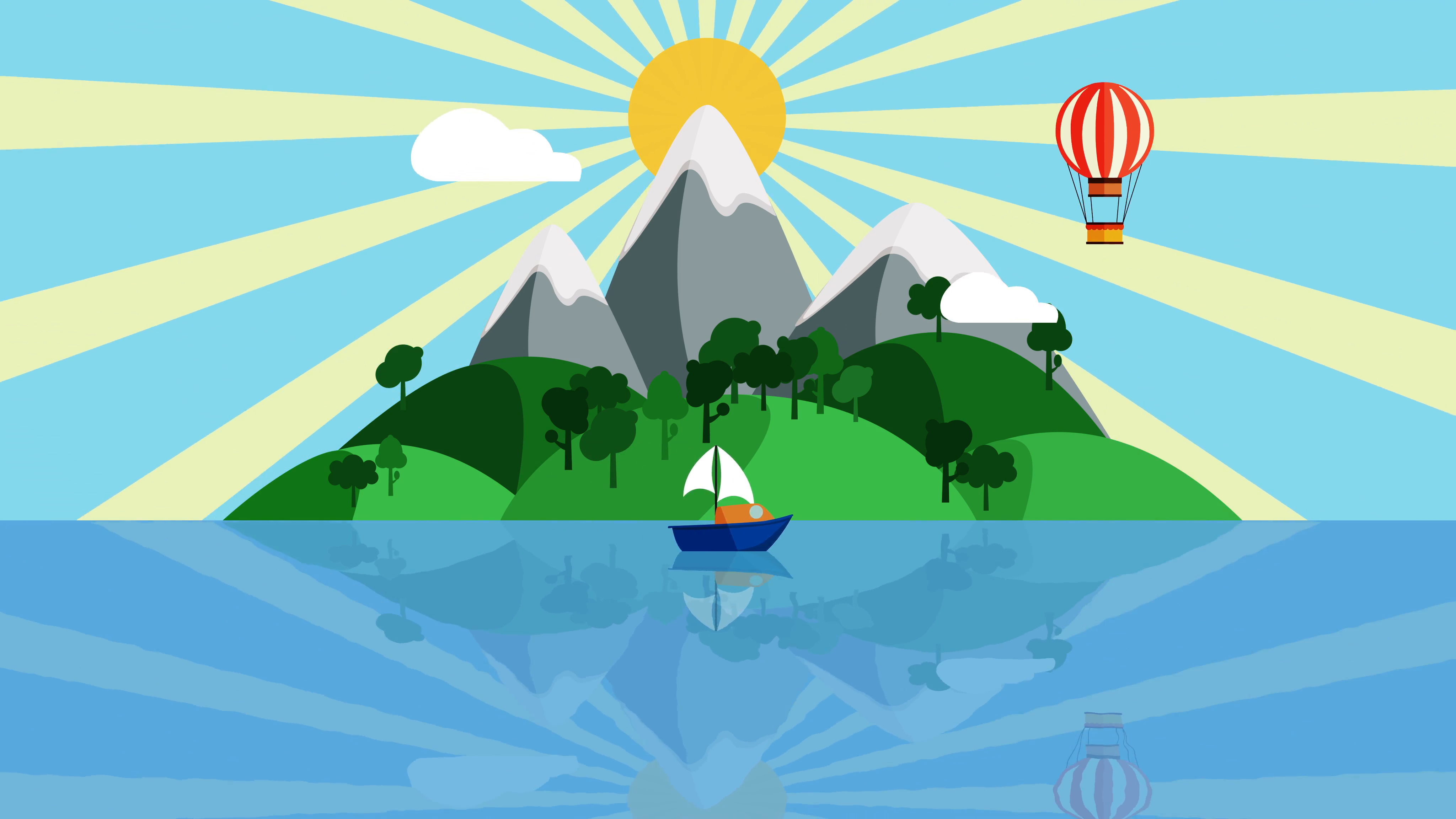 4096x2304 Cartoon Boat Sailing Slowly In The Ocean With Small Tropical