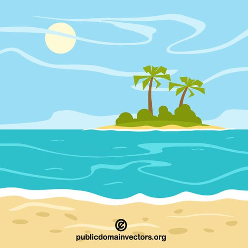 500x500 Tropical Island Vector Clip Art Public Domain Vectors