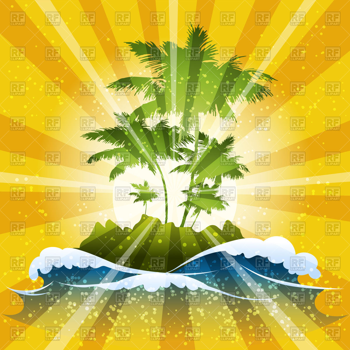 1200x1200 Tropical Island With Waves And Palm Trees On Sunbeams Background