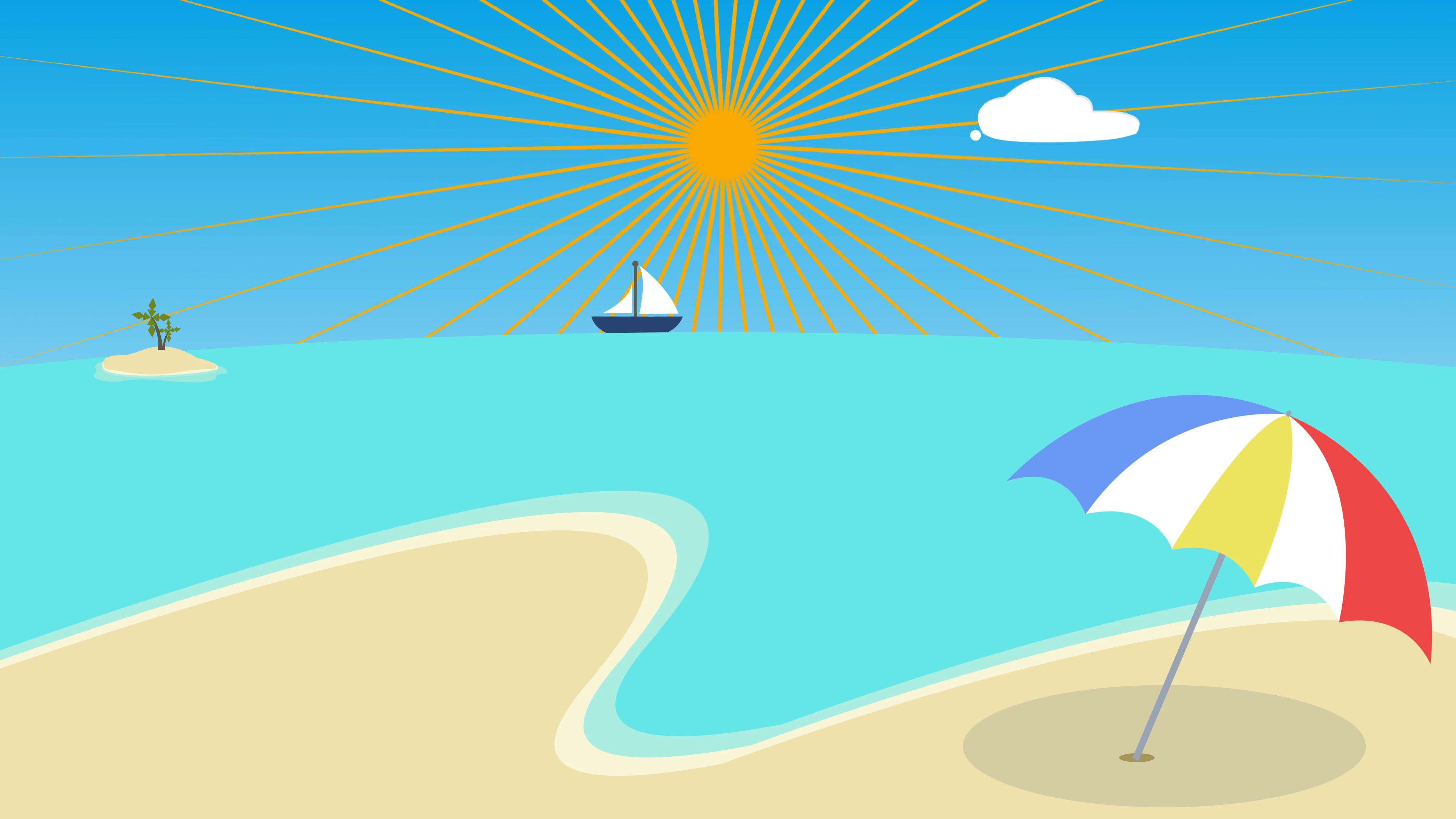 4096x2304 Colorful Cartoon Beach Background, Palm Beach Animation. Tropical