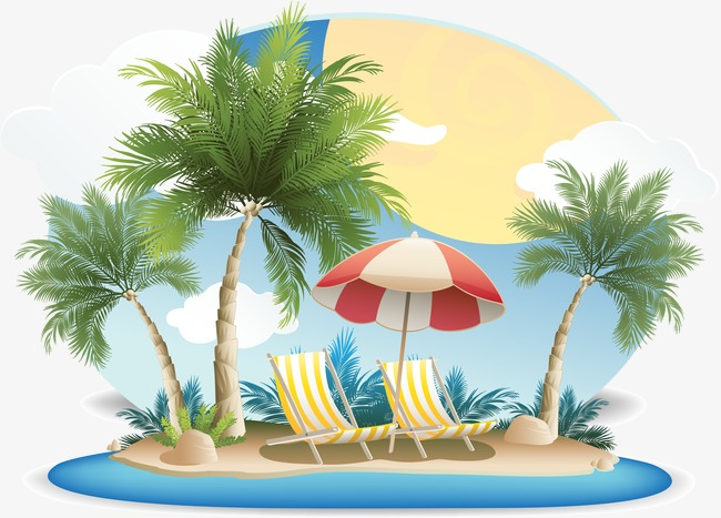 650x467 Creative Summer, Deck Chair, Parasol, Tropical Islands Png And