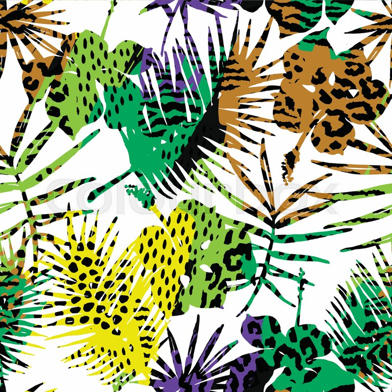 800x800 Seamless Exotic Pattern With Tropical Plants. Vector Hand Draw