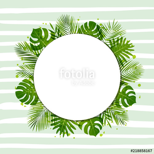 500x500 Summer Background With Palm Leaves. Tropical Plants. Vector