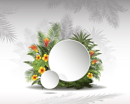 500x400 Circle Paper And Tropical Plants Vector Background Free Vector In