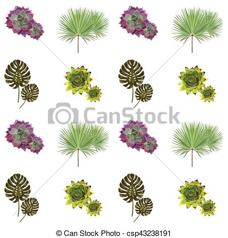 450x470 Green Plants Vector Collection. Set Of Stylized Tropical Plants