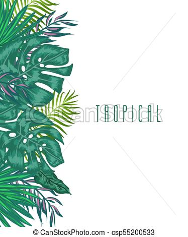 374x470 Green Summer Tropical Background With Exotic Palm Leaves And
