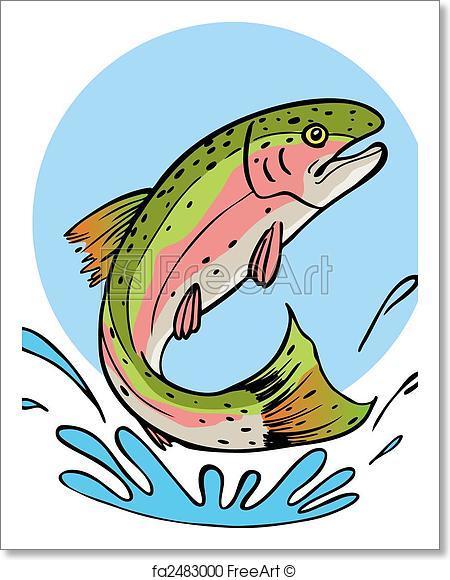 450x580 Free Art Print Of Rainbow Trout. Rainbow Trout Vector Illustration
