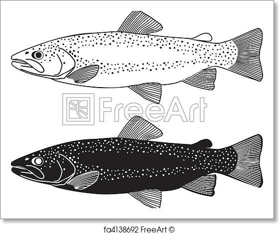 560x470 Free Art Print Of Trout Fish Vector Illustration. Fish Fly Black