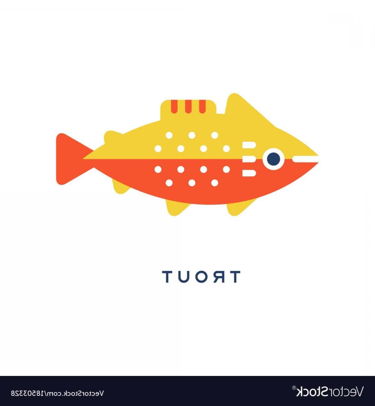 1200x1296 Trout Freshwater Fish Geometric Flat Style Design Vector Sohadacouri