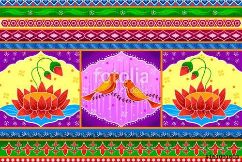500x334 Floral Kitsch Background In Indian Truck Art Style Stock Image