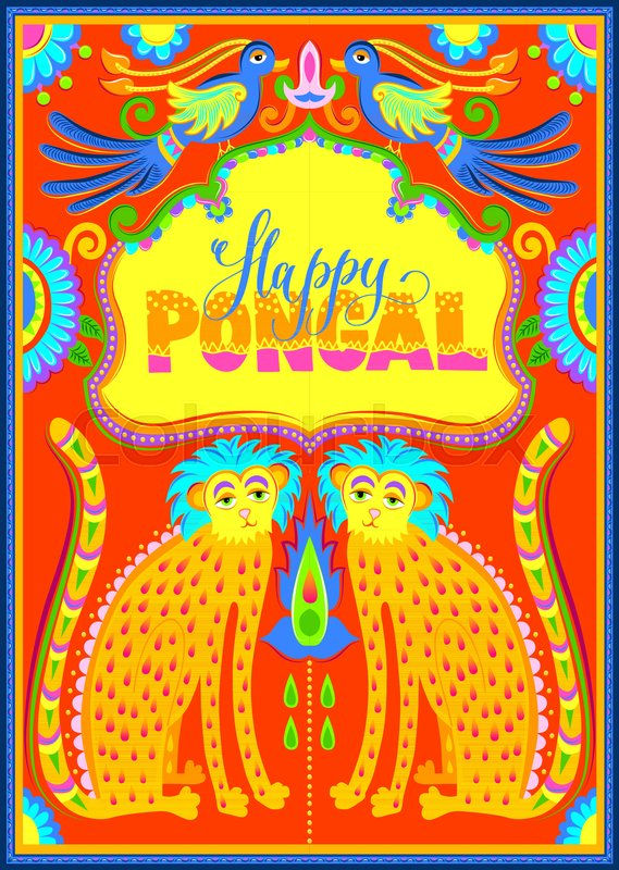 569x800 Happy Pongal Celebration Banner In Truck Art Kitsch Style To