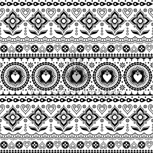 500x500 Indian Trucks Art Seamless Vector Pattern, Pakistani Mono... Gl
