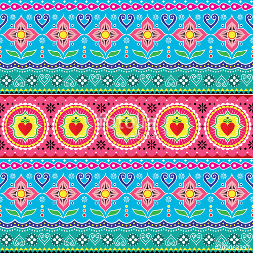 500x500 Indian Trucks Art Seamless Vector Pattern, Pakistani Colorful