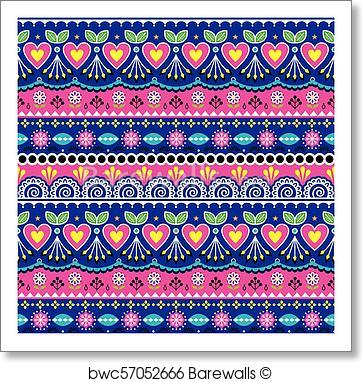 362x382 Art Print Of Indian Seamless Vector Pattern, Pakistani Truck Art