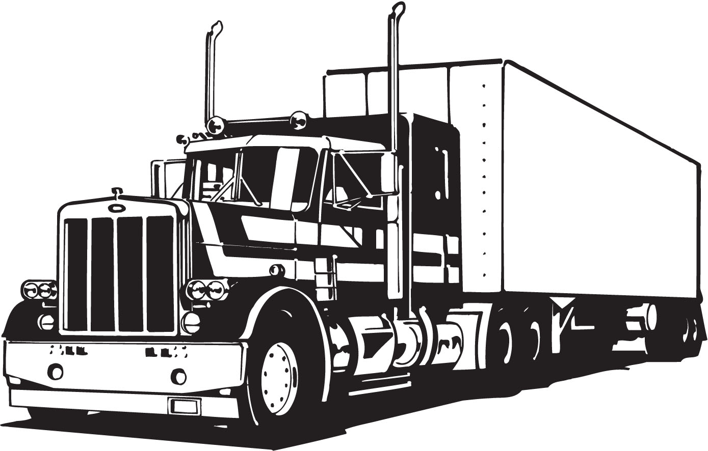 1389x886 Truck Art Vector Semi Truck And Trailer Illustration Tow Clip Art