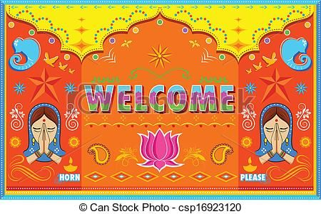 450x301 Vector Illustration Of Welcome Background In Indian Truck Paint