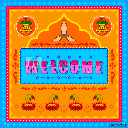 500x500 Welcome Background In Indian Truck Art Style
