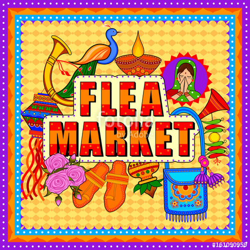 500x500 Flea Market Background In Indian Truck Art Style Stock Image And