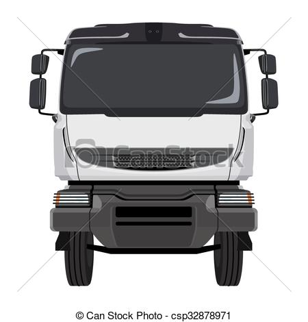 450x470 Front Green Truck. Front Of The Truck On A White Background.