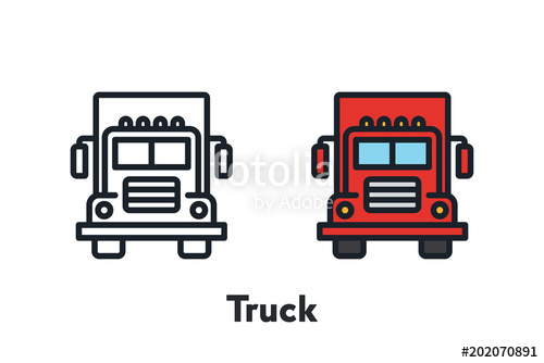 500x334 Red Truck Front View Minimal Color Flat Line Outline Stroke Icon