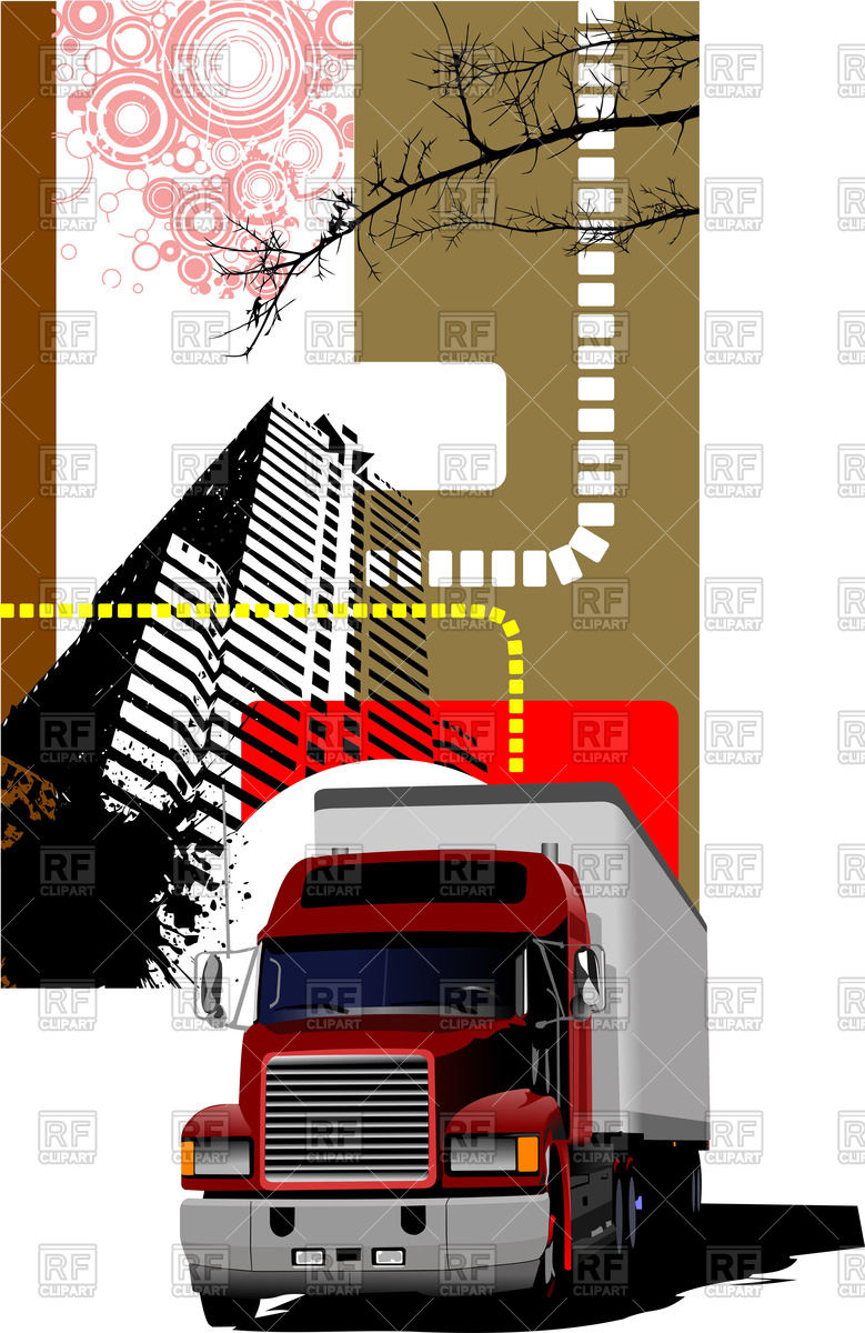 779x1200 American Box Truck (Front View) And High Rise Building Vector