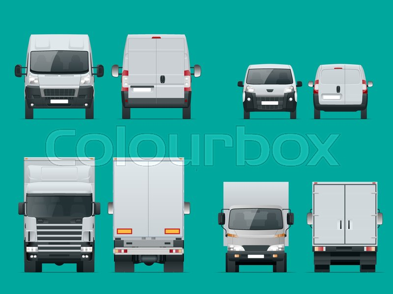 800x600 Set Of Cargo Trucks Front And Rear View. Delivery Vehicles