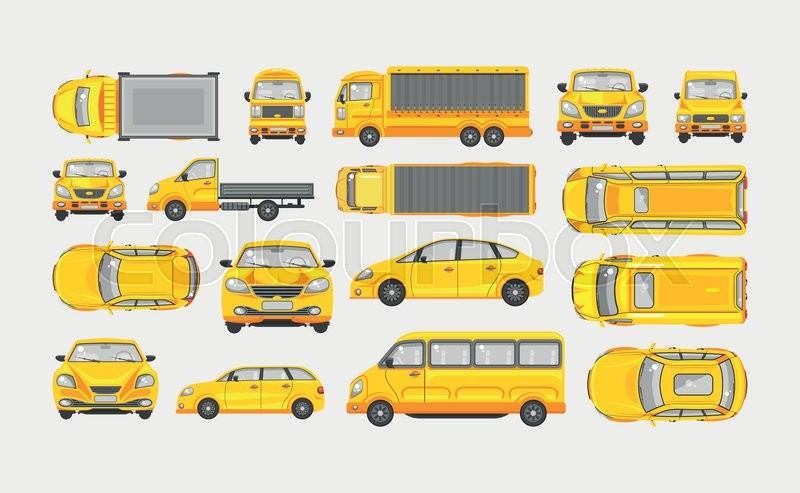 800x493 Set Stock Vector Illustration Yellow Car Hatchback, Delivery Truck