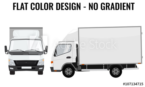 500x300 Vector Small Truck Front Side. Cargo Delivery. Flat Color