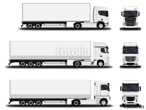 500x375 Realistic Truck. Front View Side View. Stock Image And Royalty