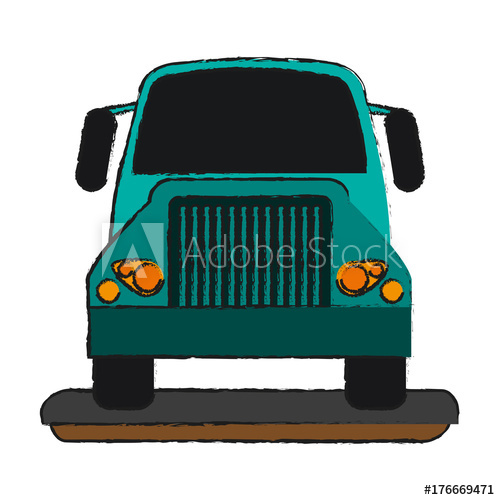 500x500 Cargo Truck Front View Icon Vector Illustration Graphic Design