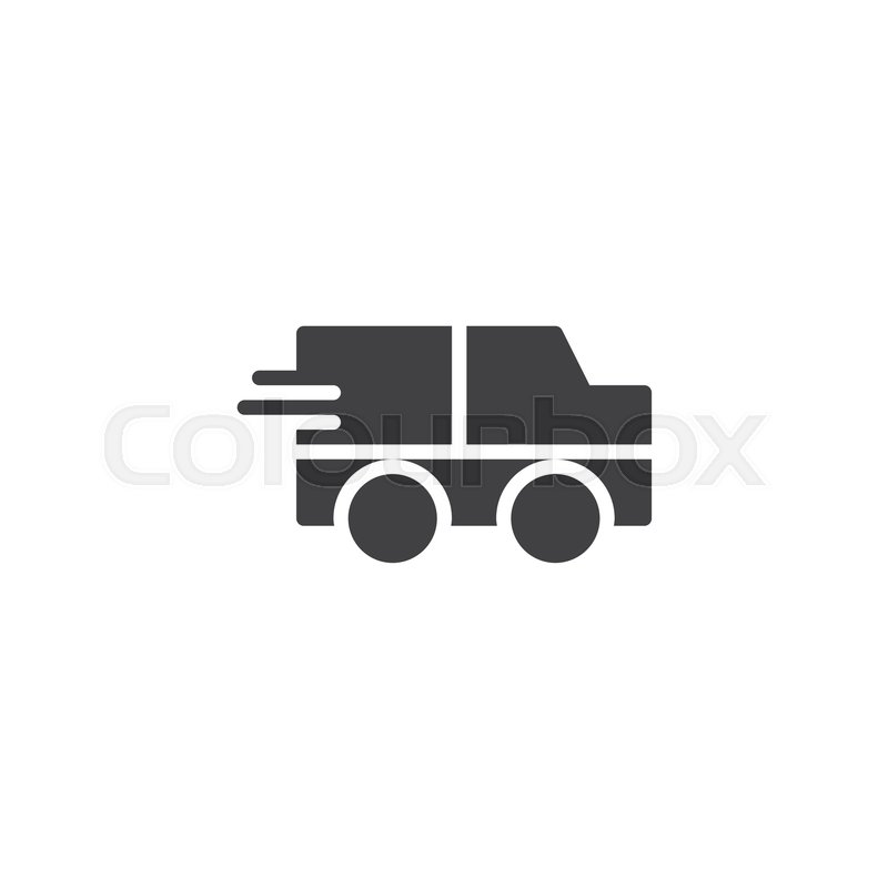800x800 Express Delivery Truck Icon Vector, Filled Flat Sign, Solid