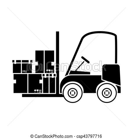 450x470 Forklift Truck Icon. Forklift Truck With Carton Boxes Over White