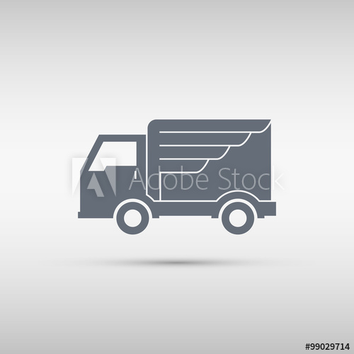 500x500 Express Delivery Service. Truck With Wing. Truck Icon. Delivery