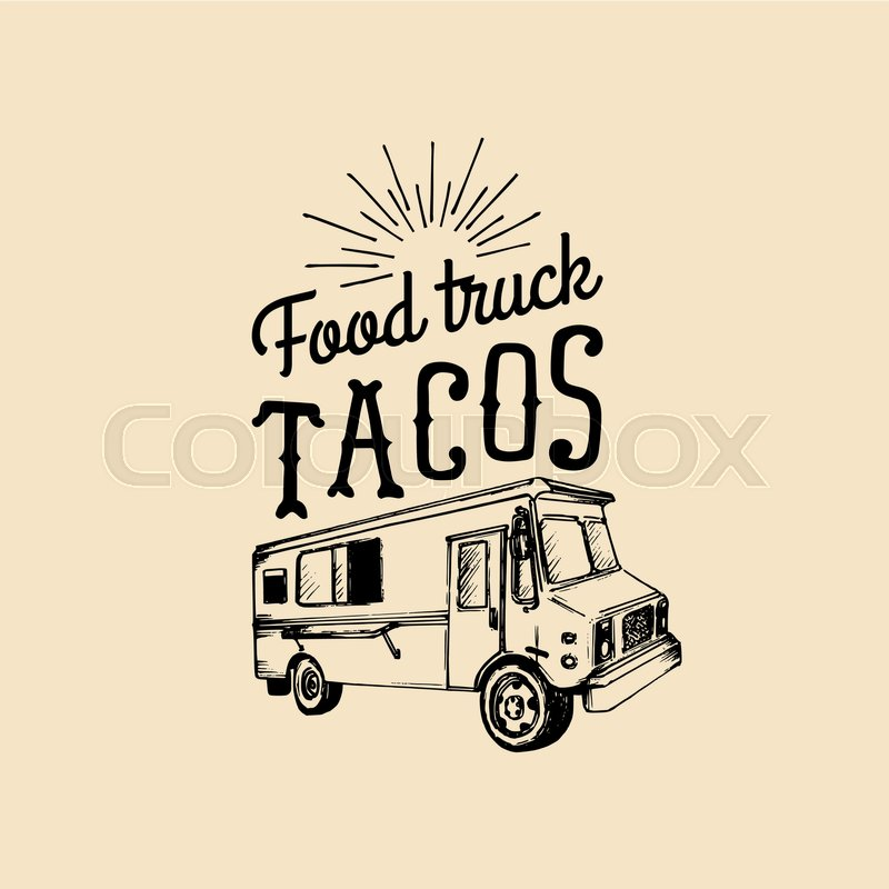 800x800 Tacos, Hot And Tasty Logo. Vector Vintage Mexican Food Truck Icon