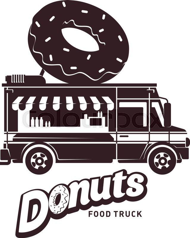 639x800 Donuts Food Truck Logo Vector Illustration. Vintage Style Badges