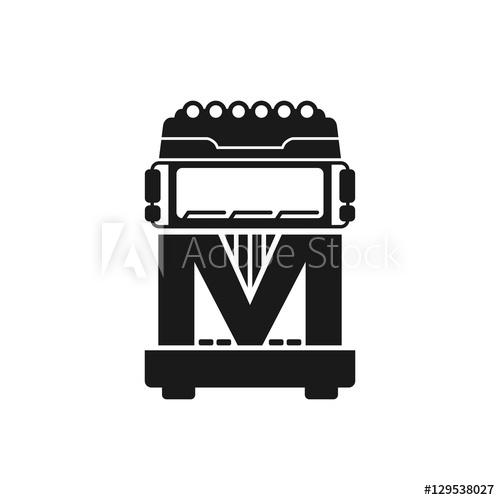 500x500 Letter M Truck Logo Vector
