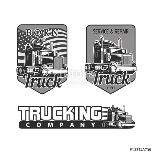 500x500 Truck Logo Vector Set Black And White Illustration Stock Image