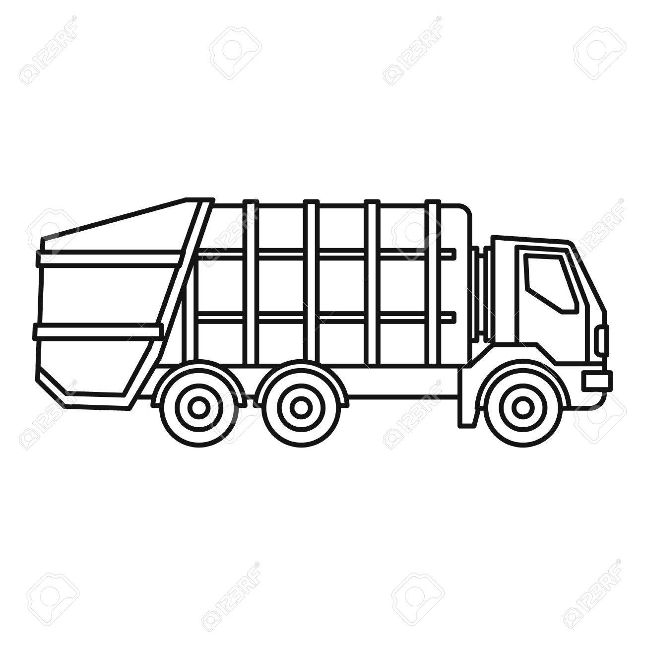 1300x1300 67933350 Garbage Truck Icon Outline Illustration Of Vector For Web