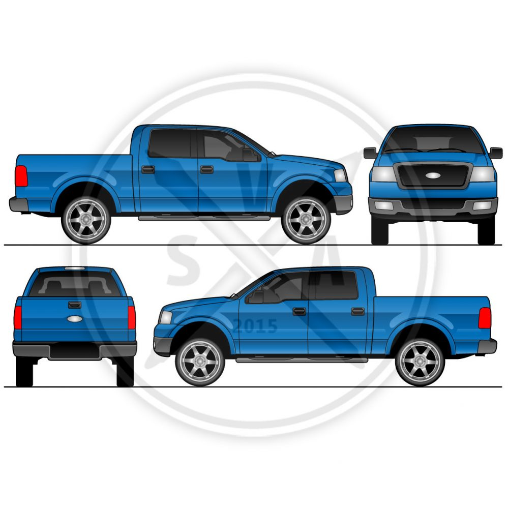 999x999 F150 Crew Cab Vector Truck Outline