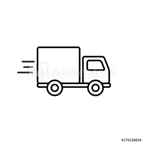 500x500 Fast Shipping Delivery Truck Outline Icon In Flat Style. Vector