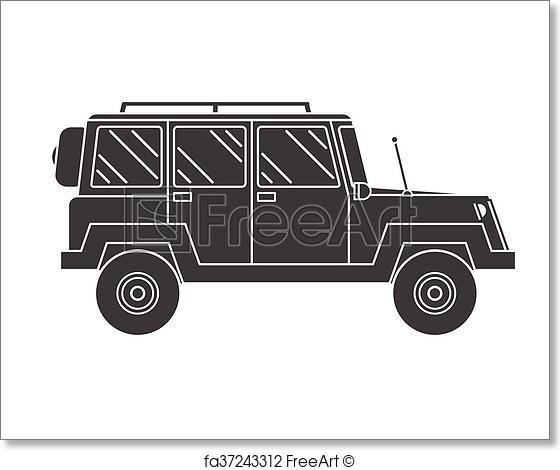 560x470 Free Art Print Of Outline Suv Black And White Vector Icon
