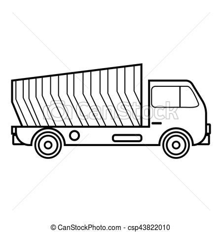450x470 Garbage Truck Icon, Outline Style. Garbage Truck Icon. Outline
