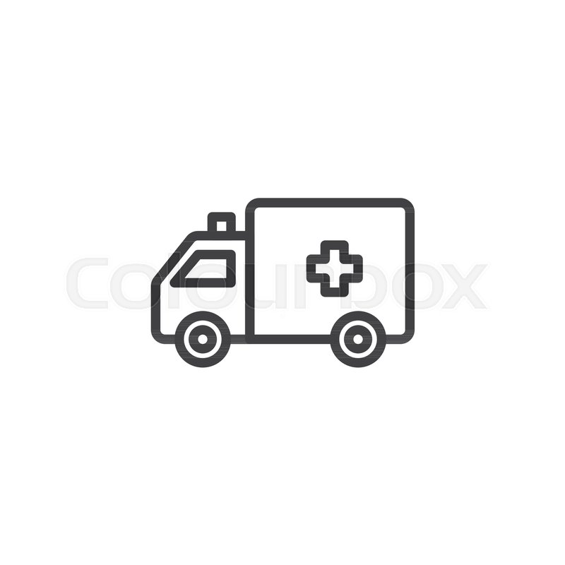 800x800 Ambulance Truck Line Icon, Outline Vector Sign, Linear Style