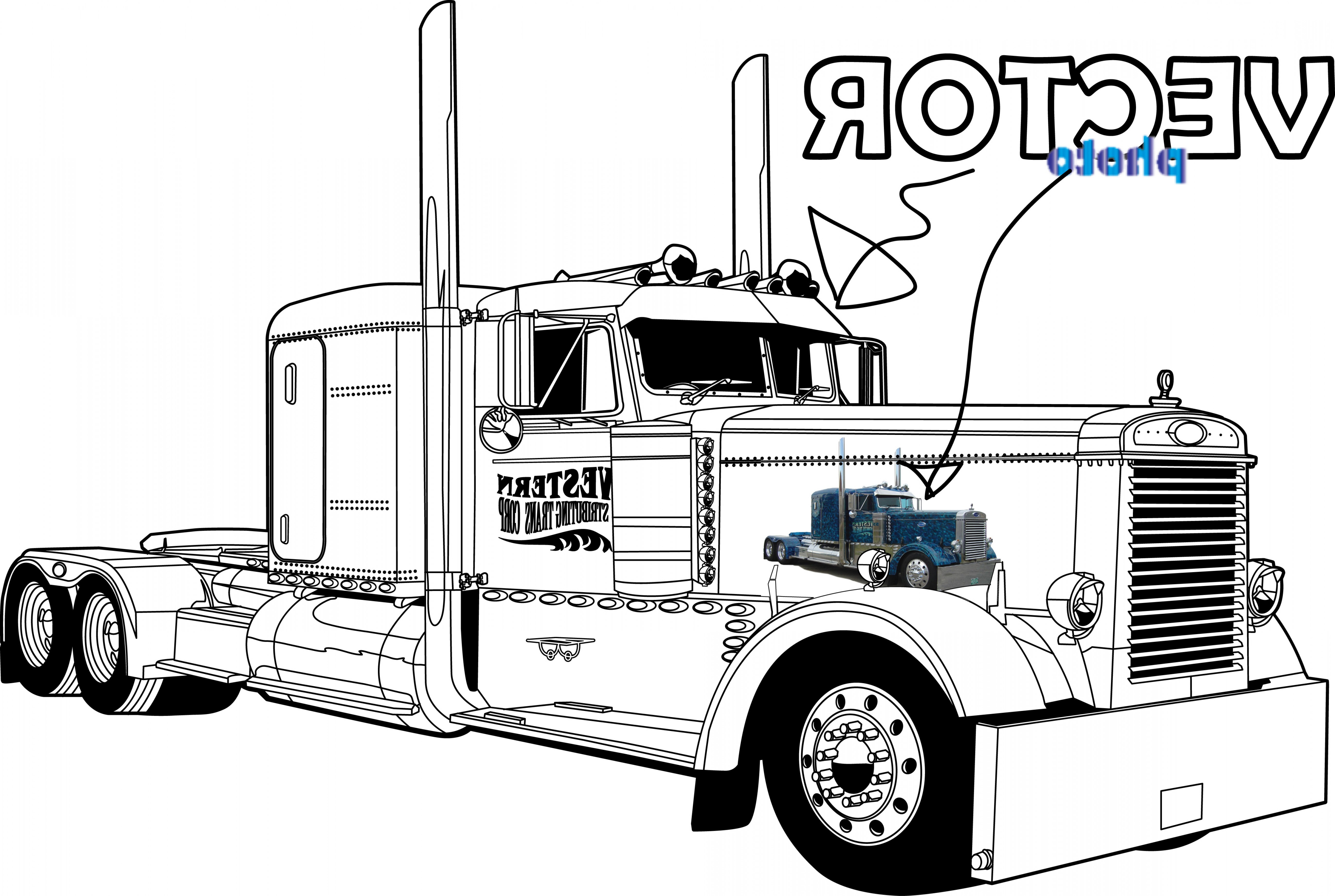 5192x3486 Semi Truck Outline Drawing Truck Vector Squad Blog Arenawp