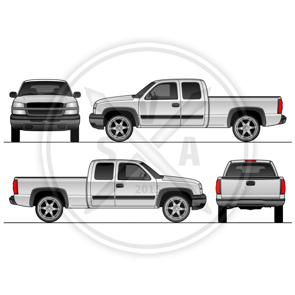 999x999 Silverado Pickup Truck Vehicle Outline