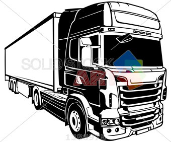 340x282 Stock Illustration Of Vector Black Outline Drawing Trailer Truck
