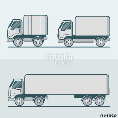 500x500 Truck Lorry Van Transport Linear Stroke Outline Flat Vector Stock