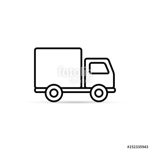 500x500 Truck Outline Icon, Vector Isolated Delivery Transport Symbol