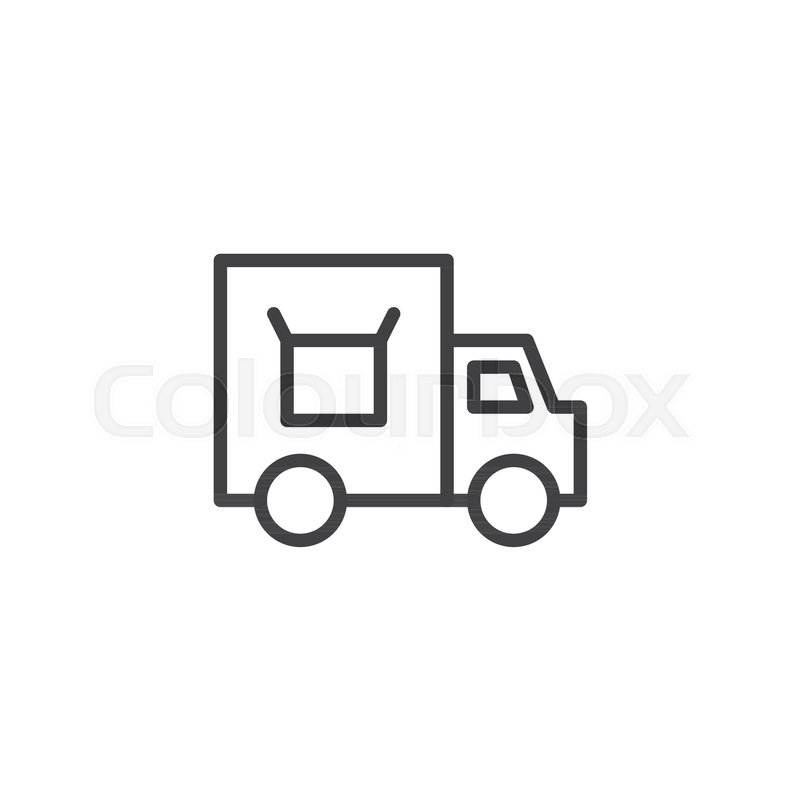 800x800 Cargo Delivery Truck Outline Icon. Linear Style Sign For Mobile